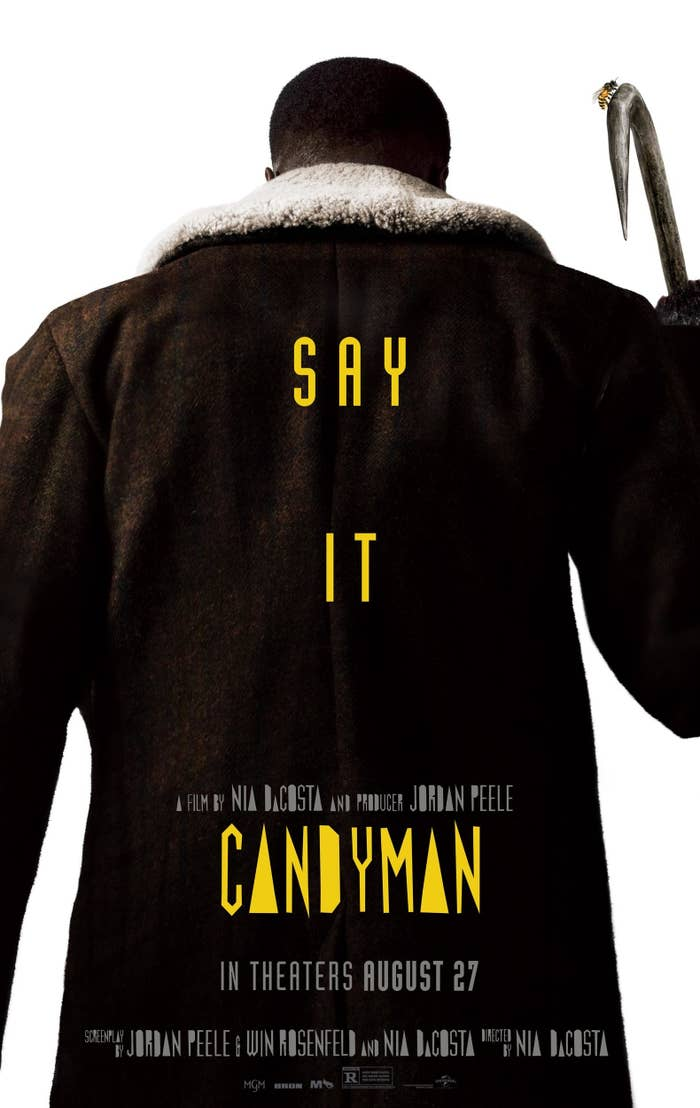 Candyman promotional poster featuring a man with his back to the audience and holding a hook with a bee perched upon it