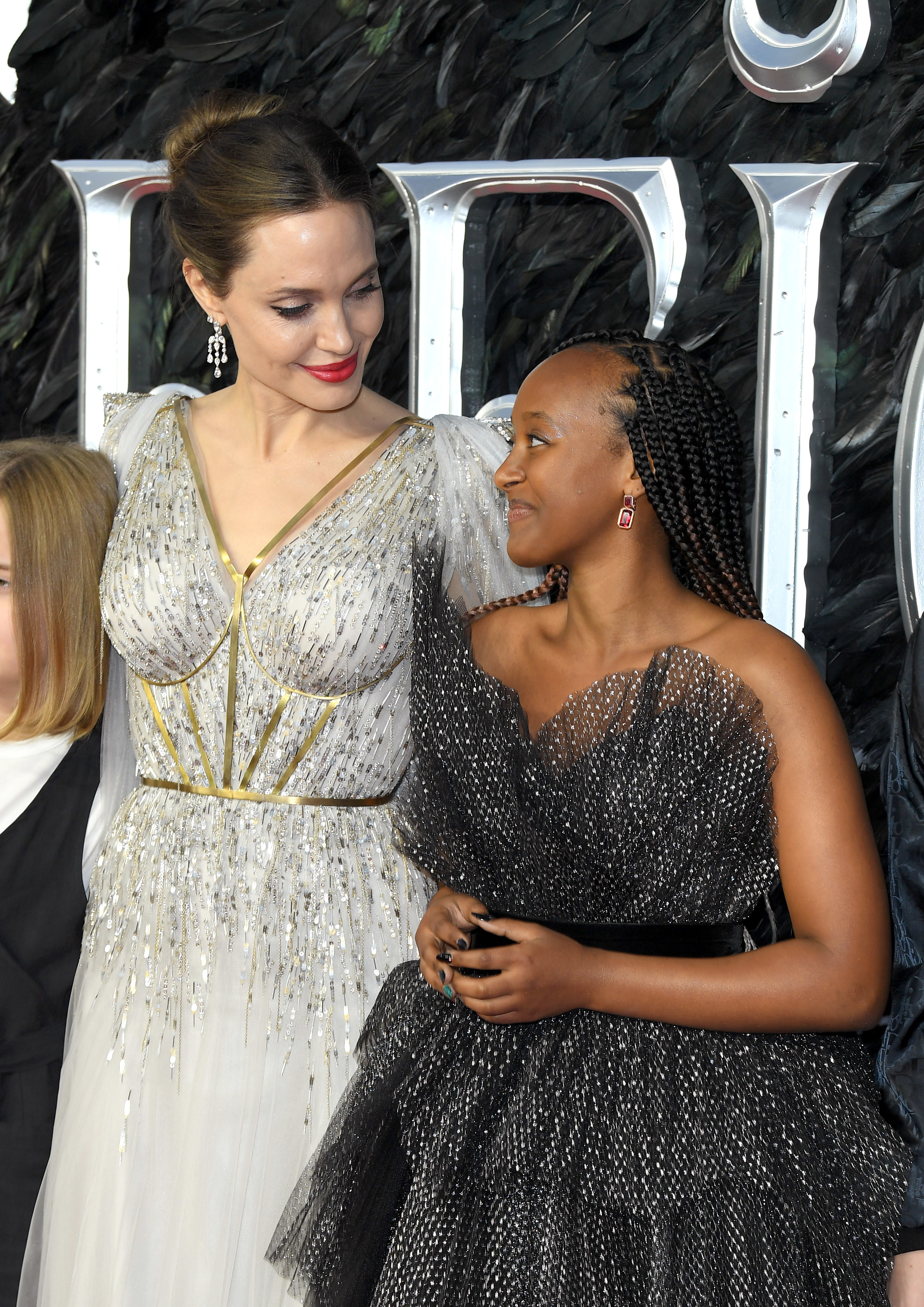 """Angelina Jolie and Zahara Marley Jolie-Pitt attend the European premiere of """"Maleficent: Mistress of Evil"""" at Odeon IMAX Waterloo on October 09, 2019, in London, England"""