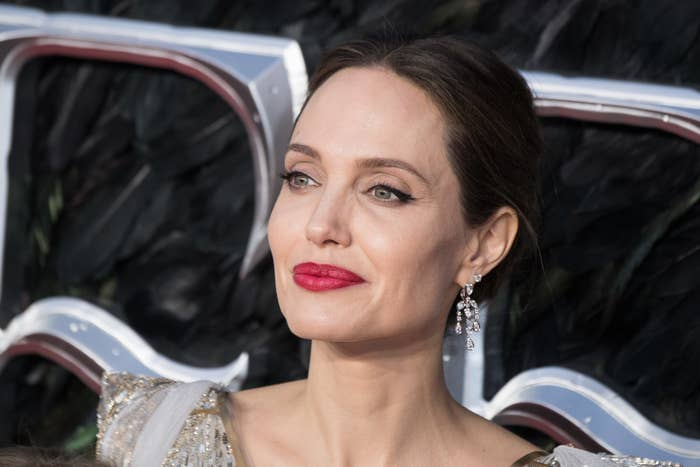 """Angelina Jolie attends the European premiere of """"Maleficent: Mistress of Evil"""" at Odeon IMAX Waterloo on October 09, 2019 in London, England"""