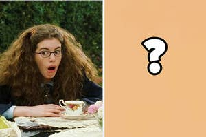"""Mia from """"The Princess Diaries"""" is on the left with a question mark on the right"""