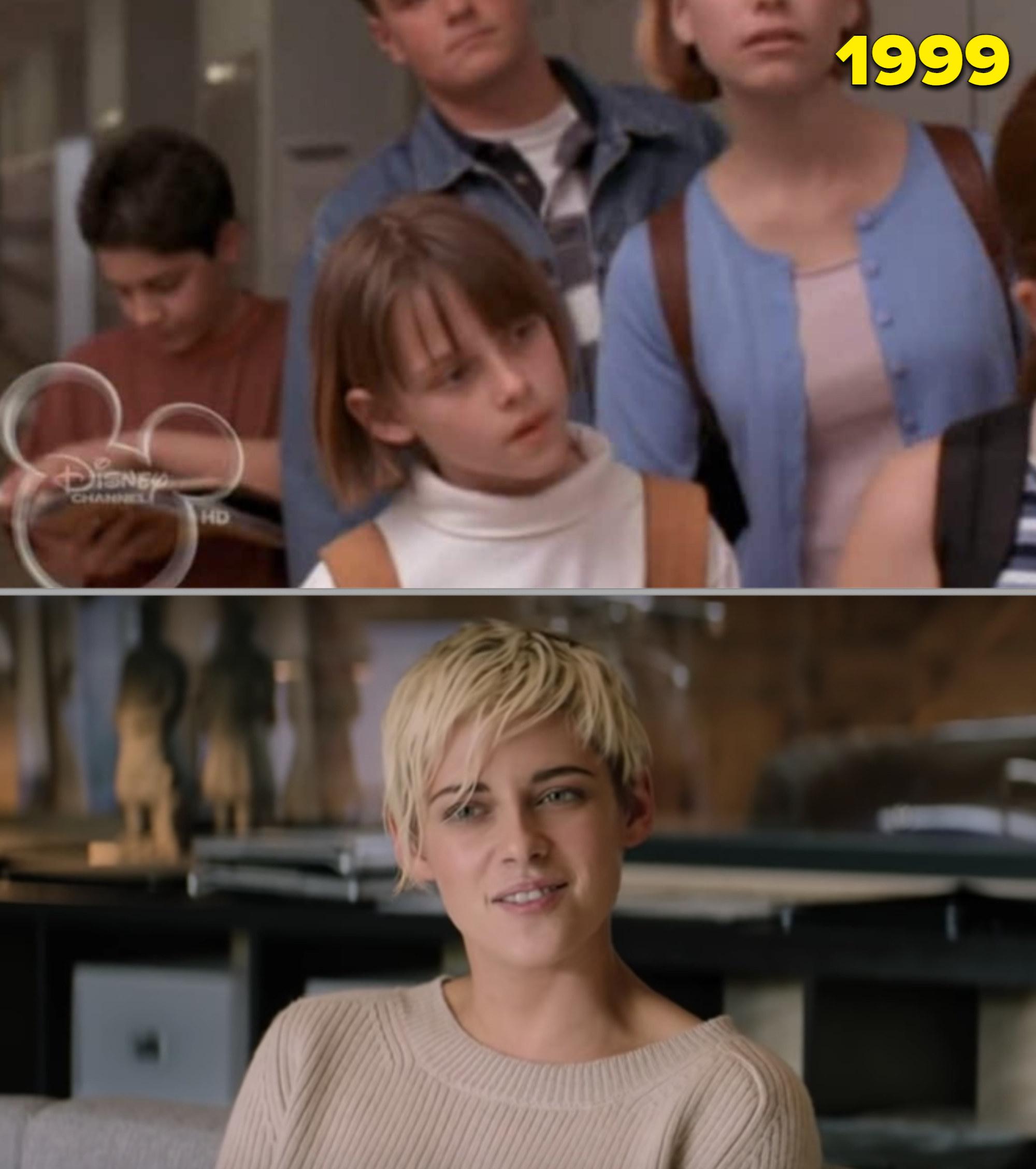 Kristen Stewart as a kid vs. as an adult in an interview