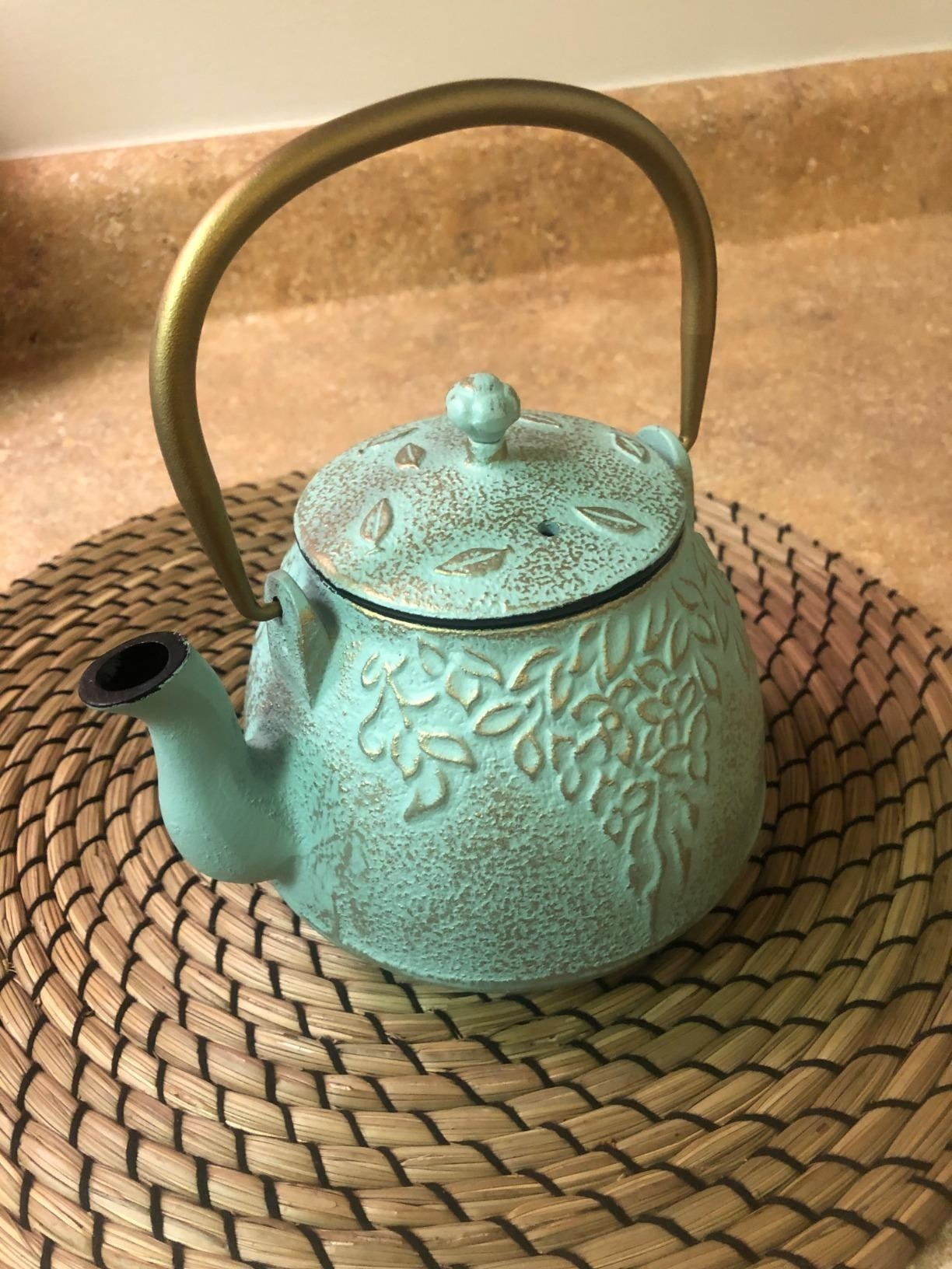 reviewer showing the teapot in teal