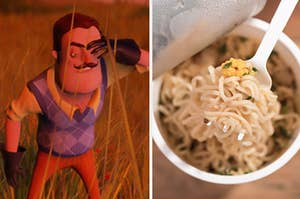 a hello neighbor character on the left and ramen on the right