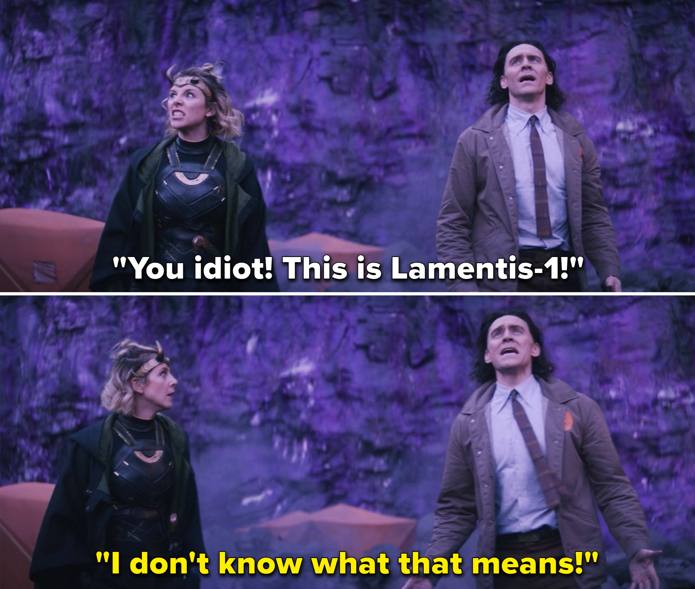 Sylvie calling Loki an idiot after he transports them to Lamentis-1