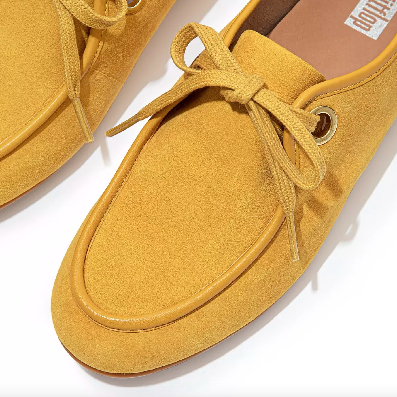 the eyelet suede lace-up in sunshine yellow