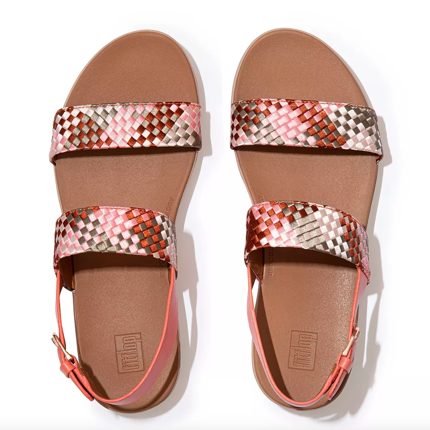 the silky-weave back strap sandal in coral pink