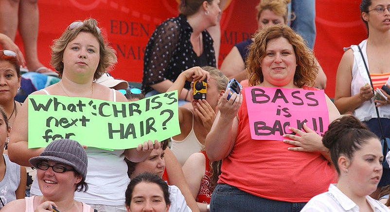 a nsync fan with a whats next for chris' hair sign