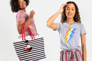 model with a striped tote and model in a lightning bolt tee