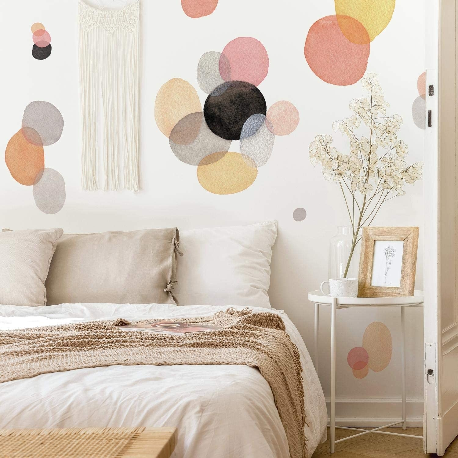The decals on a bedroom wall