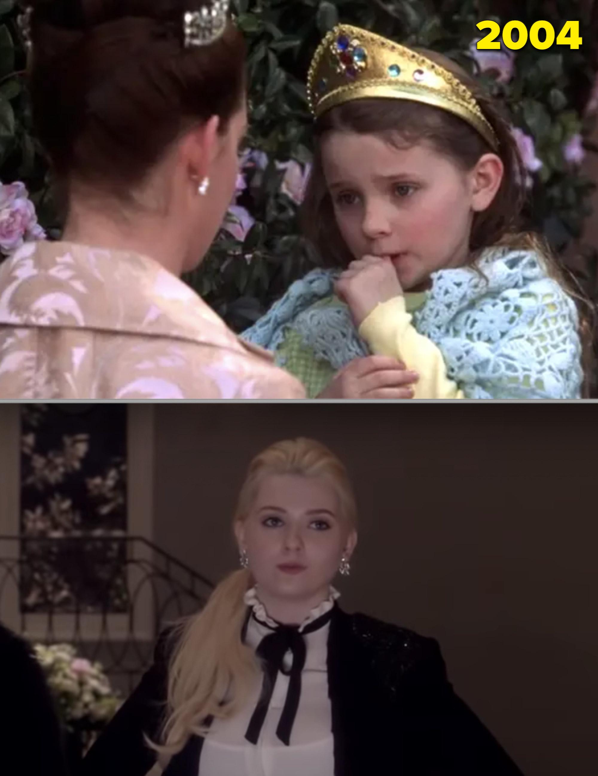 "Abigail as a kind in ""Princess Diaries 2"" vs as a sorority sister in ""Scream Queens"""