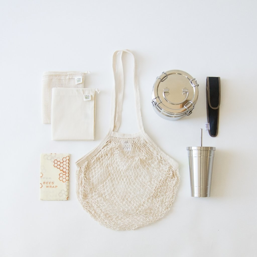 the complete zero waste starter kit spread out on a white surface