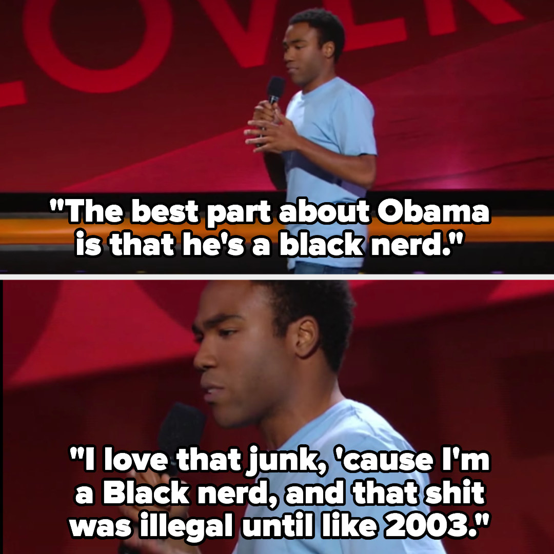 """Donald saying """"the best part about Obama is that he's a Black nerd. I love that junk, 'cause I'm a Black nerd, and that shit was illegal until like 2003"""""""