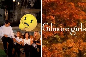"""""""Friends"""" are sitting on a sofa outside with """"Gilmore Girls"""" written over fall trees on the right"""
