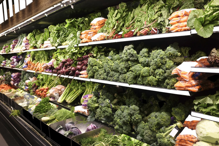 Organic fruits and vegetables at the grocery store