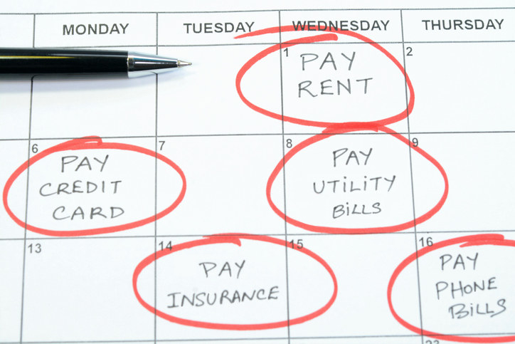 """A calendar with multiple reminders to """"pay bills"""""""