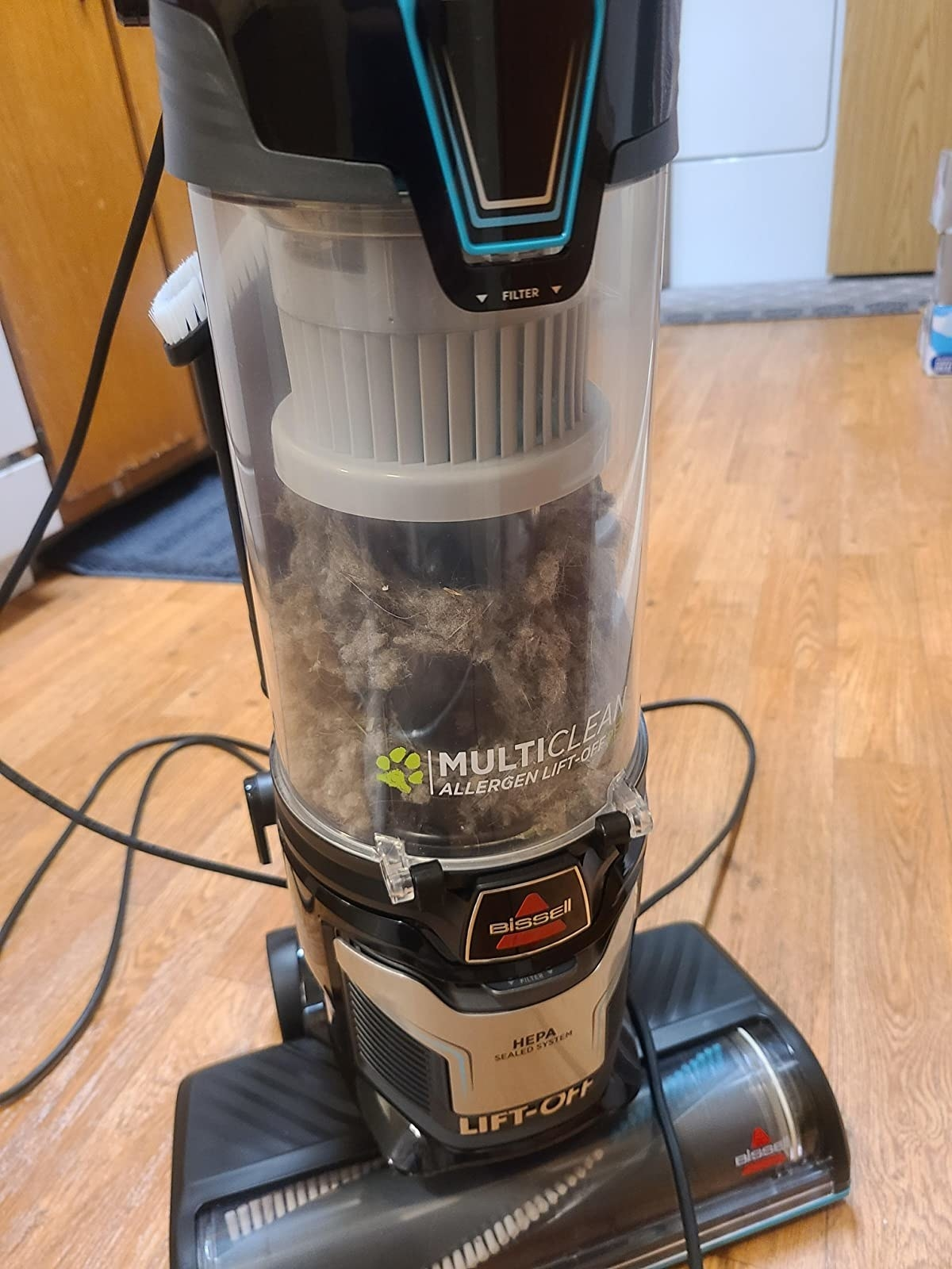 A reviewer's vacuum filled with dust and hair