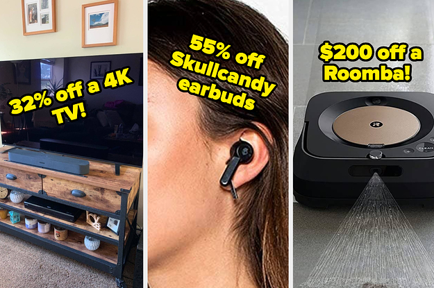 flat screen tv skull candy earbuds and a robot mop