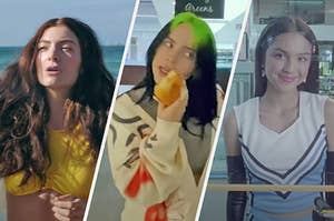 """On the left, Lorde in the """"Solar Power"""" music video, in the middle, Billie Eilish in the """"Therefore I Am"""" music video, and on the right, Olivia Rodrigo in the """"Good 4 U"""" music video"""