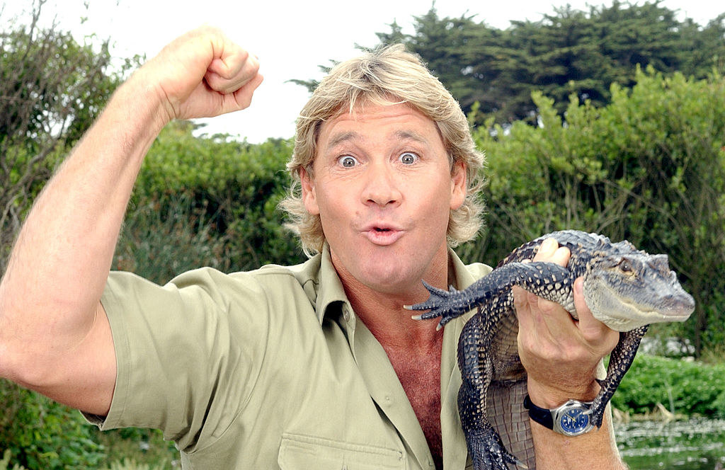 Steve Irwin poses with a three foot long alligator at the San Francisco Zoo