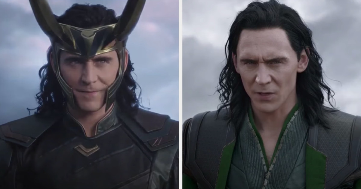 Loki's hair is loose and a bit past his shoulders, with easily distinguishable curls