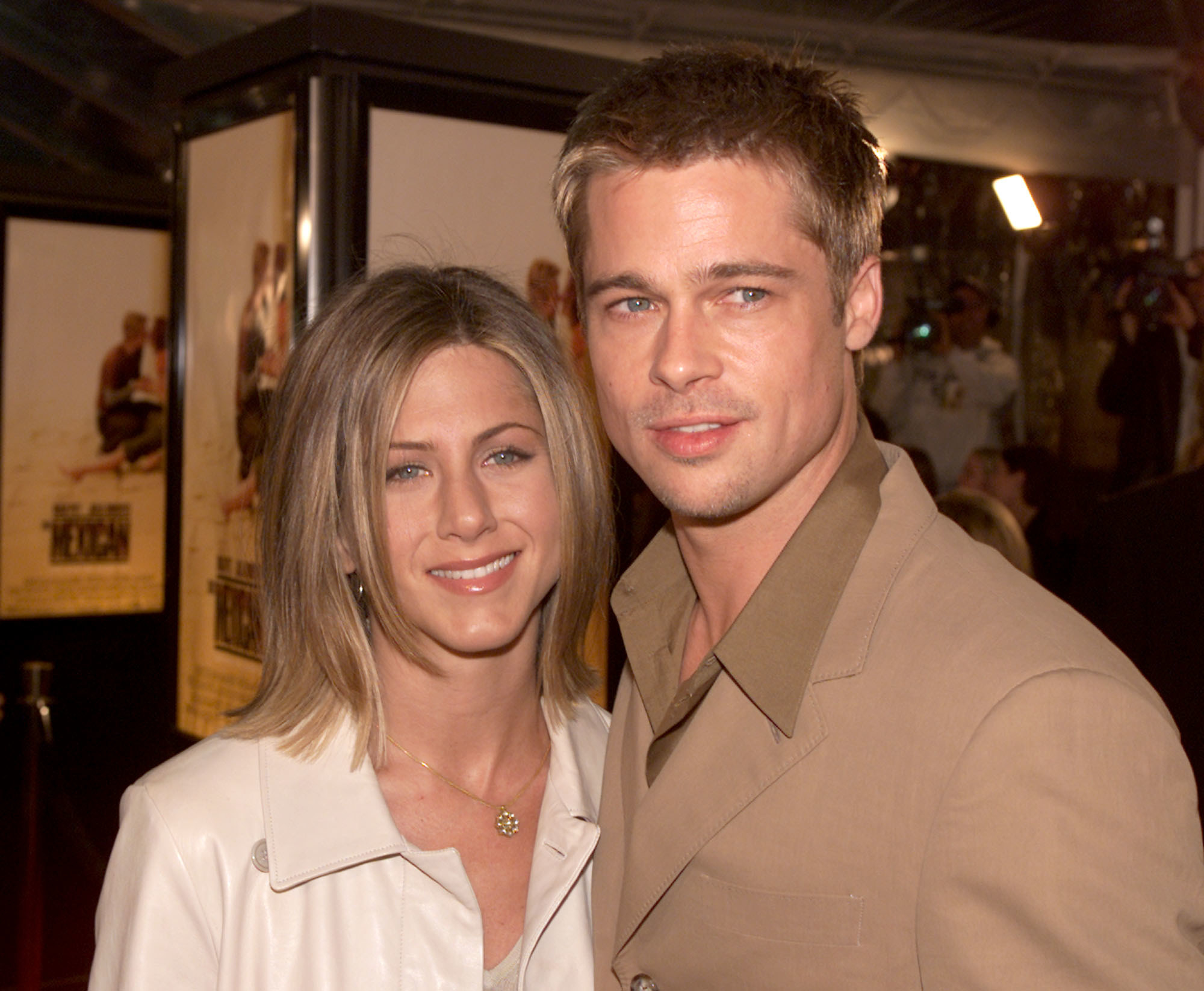 Jennifer Aniston and Brad Pitt pose together in 2001