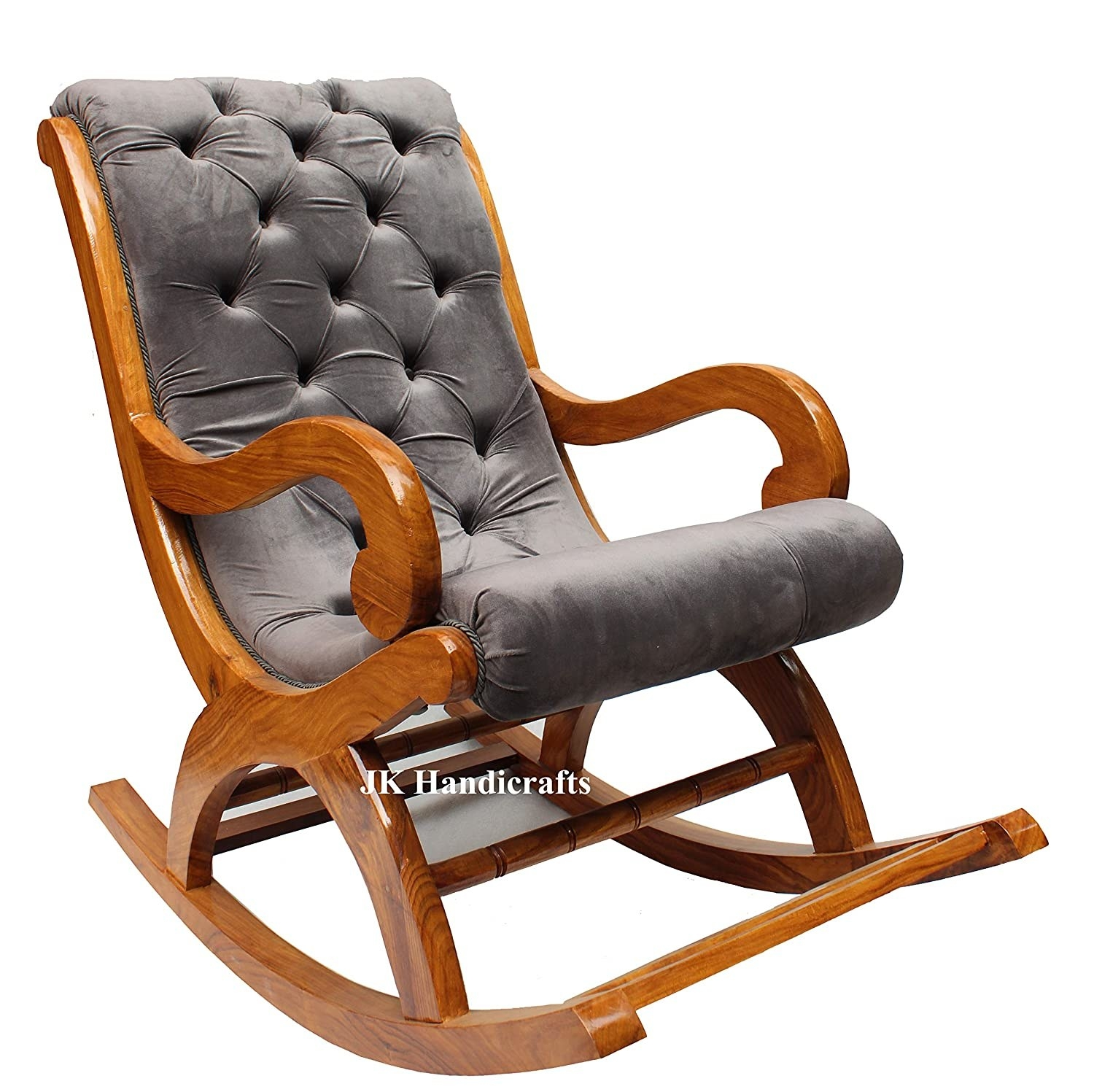 A grey rocking chair with wooden fittings
