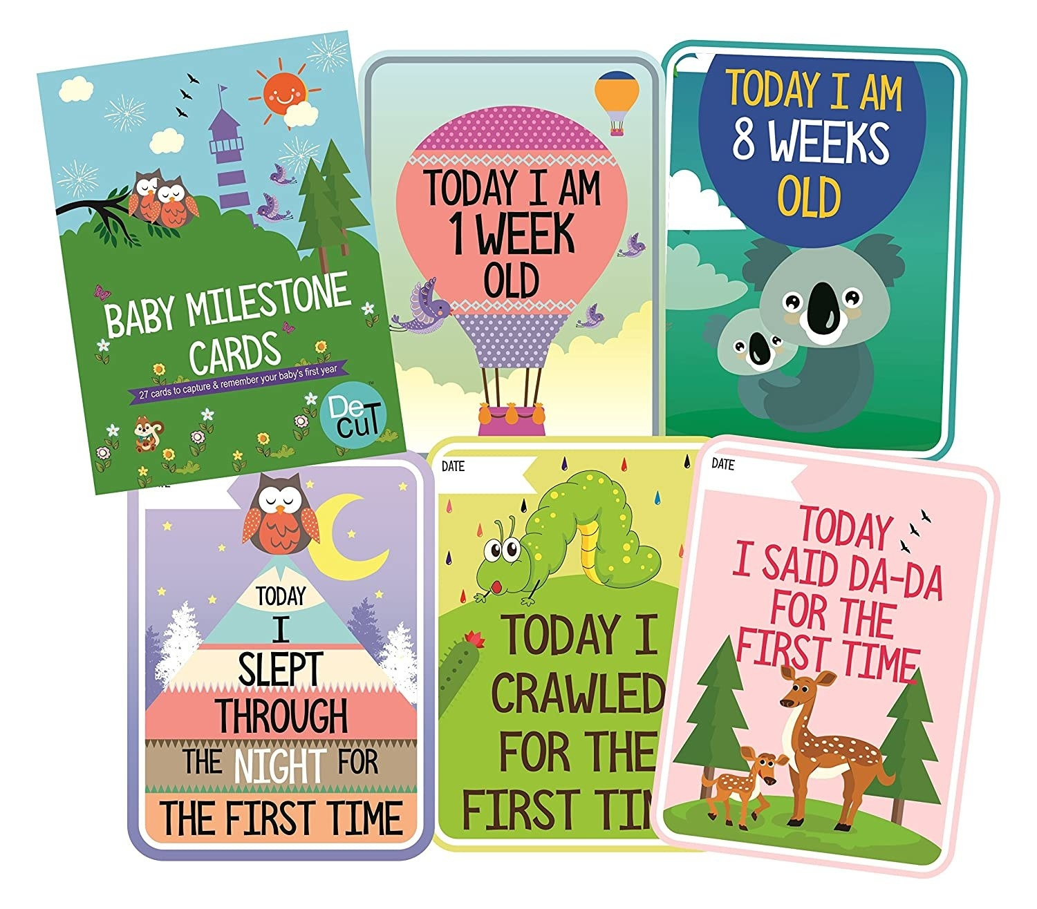 """Colourful milestone cards with phrases like, """"Today I crawled for the first time"""", """"Today I am 8 weeks old"""", and more."""