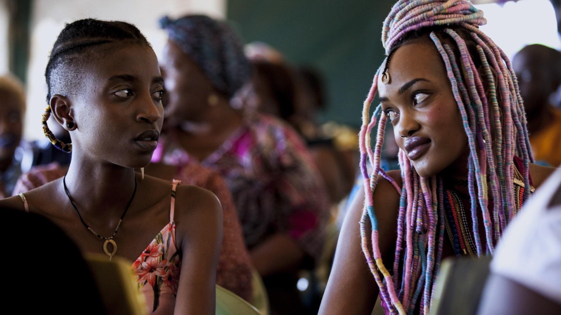 Samantha Mugatsia and Sheila Munyiva stare at each other
