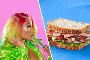 Nicki Minaj looking at a sandwich with excitement