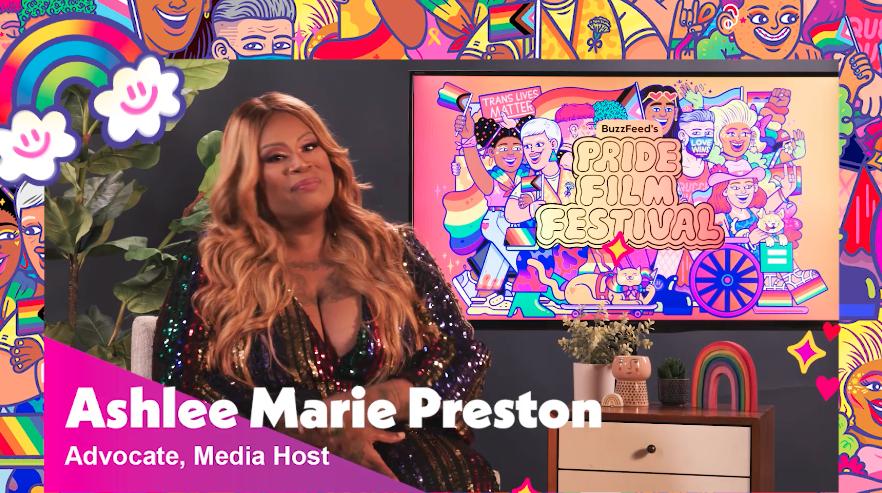 """Ashlee Marie Preston in front of a """"BuzzFeed's Pride Film Festival"""" screen"""