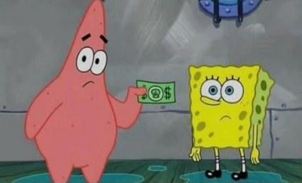 Patrick and SpongeBob naked while Patrick hands SpongeBob money