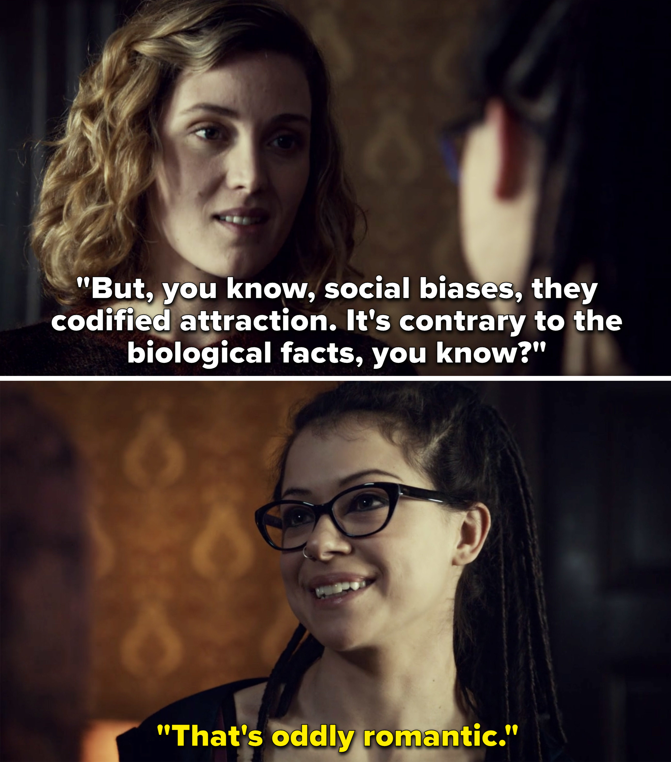 """Delphine telling Cosima how social biases codify attraction, and Cosima saying, """"That's oddly romantic"""""""