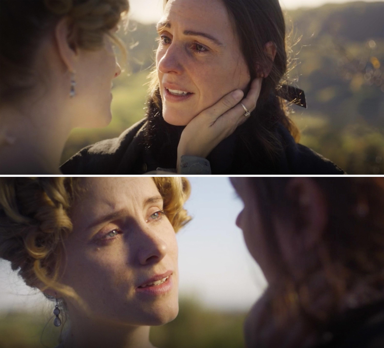 Anne holding Ann's face