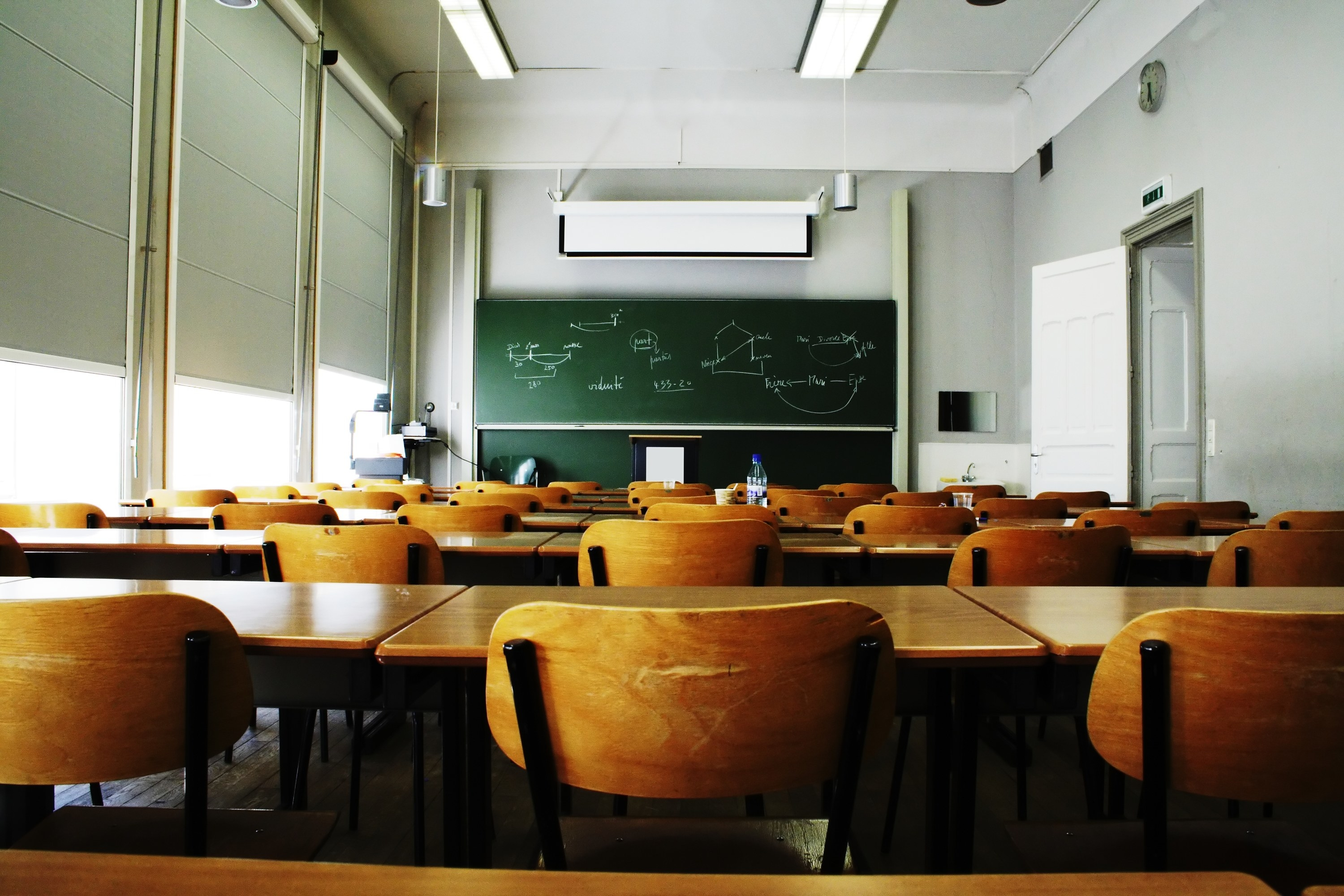 An empty classroom in the morning light