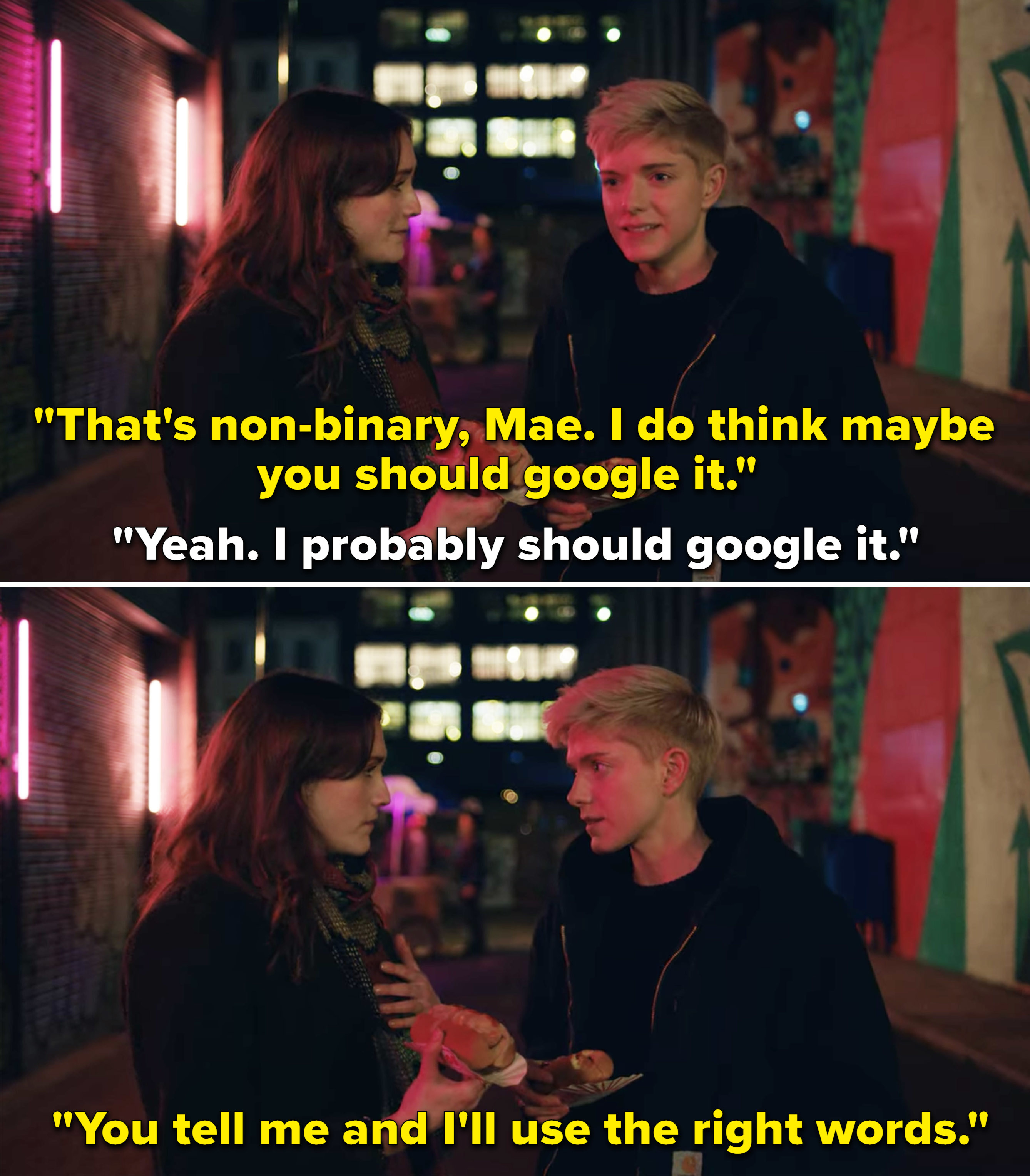 George telling Mae that whatever labels they want to use, she's good with
