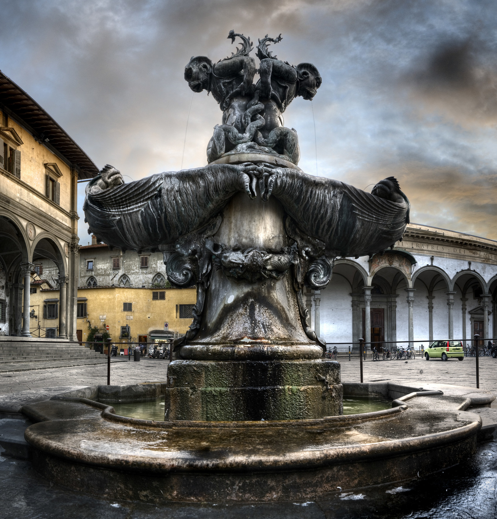 Fountain of the sea monsters in Piazza Santissima Annunziata in Florence, Italy