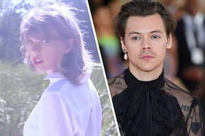 Taylor Swift looks over her shoulder as she is bathed in a glowing white light and Harry Styles wears a single pearl earring and a black high neck top with sheer sleeves.
