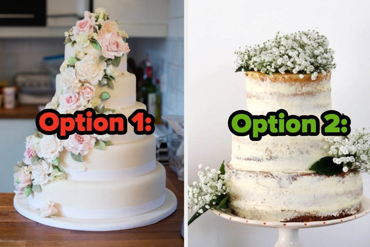 """Two wedding cakes with the words """"Option 1"""" and """"Option 2"""""""