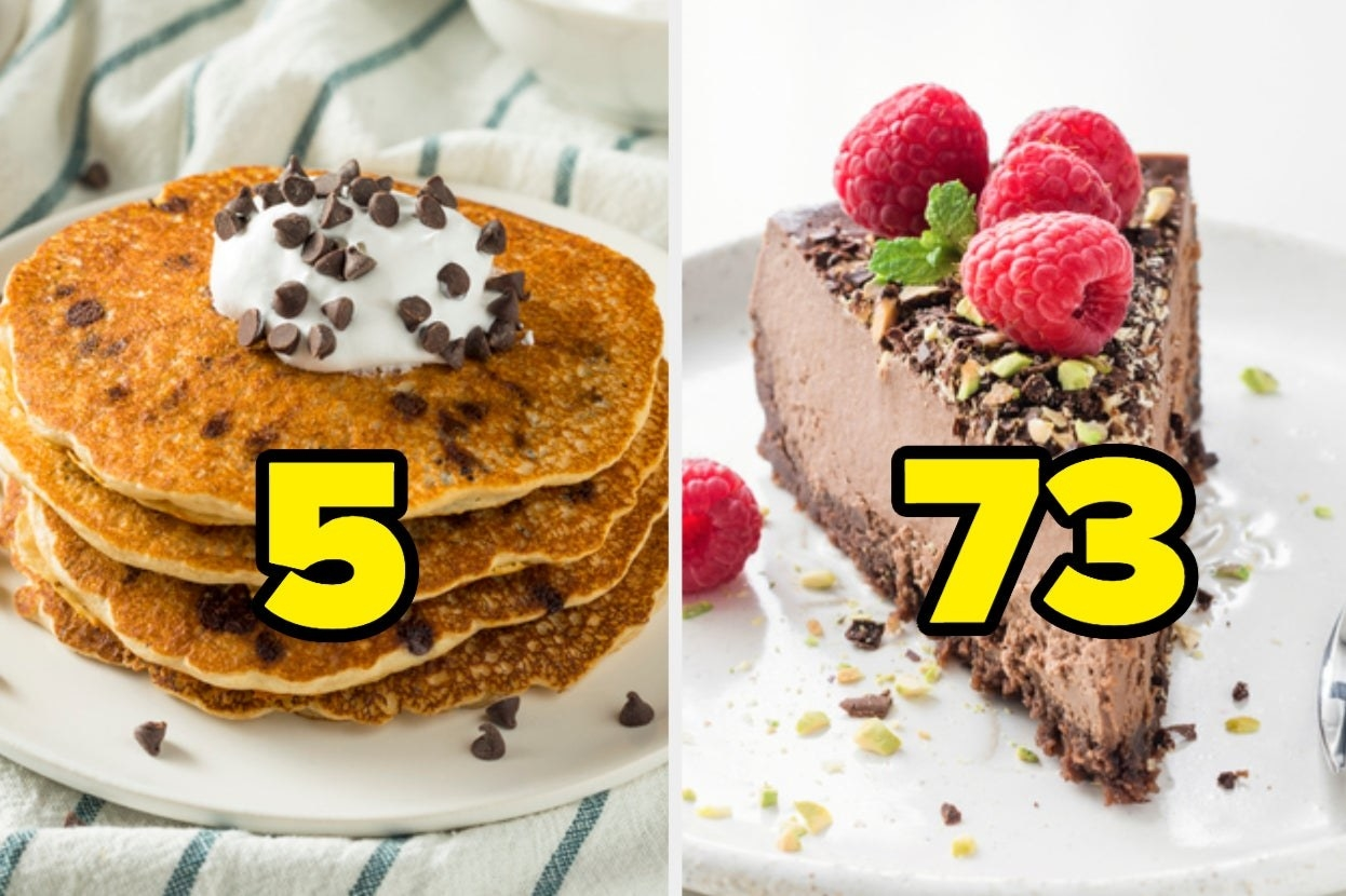 Chocolate chip pancakes with the number 5 and chocolate cheesecake with the number 73