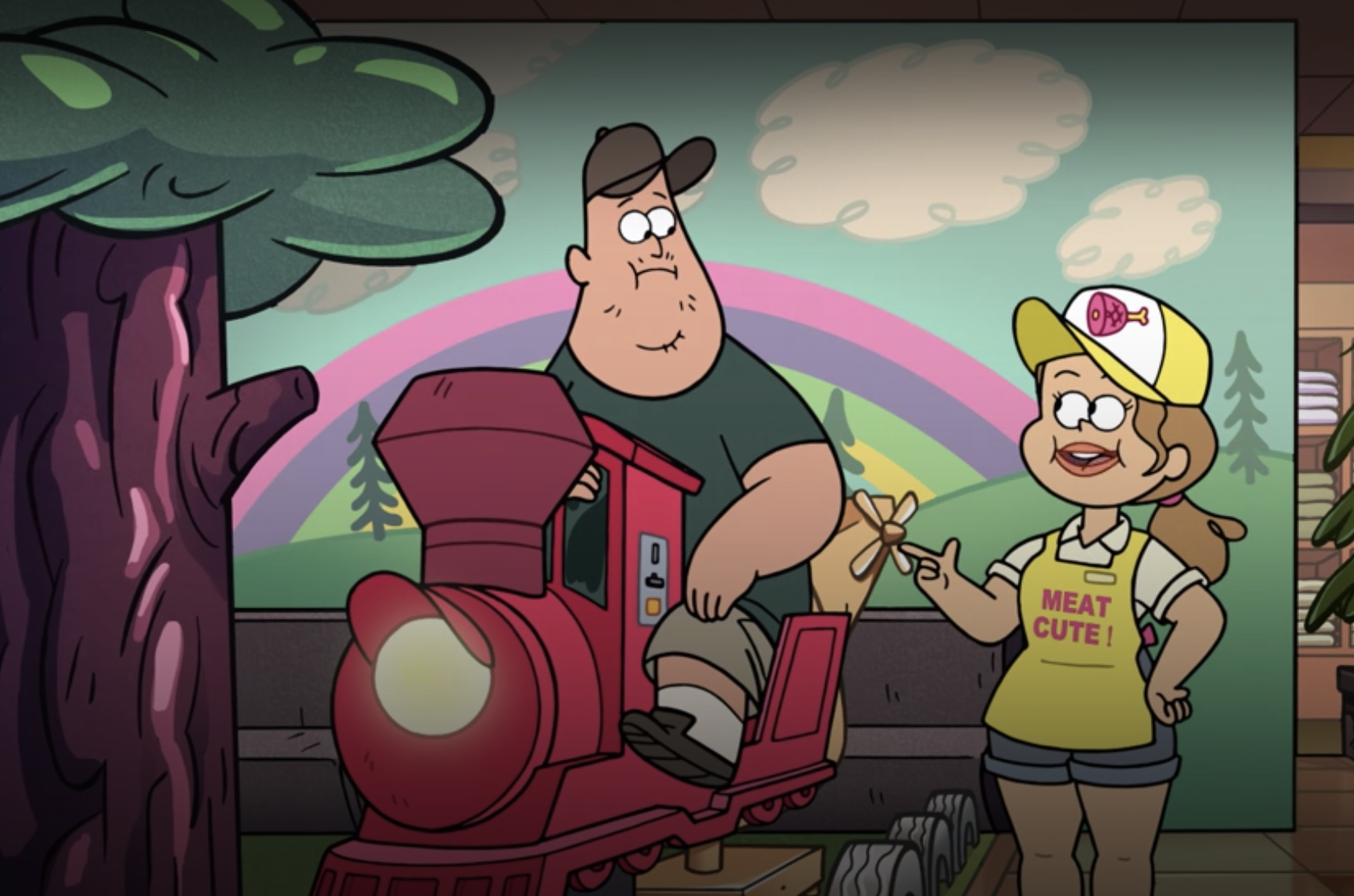 Soos talking to a girl in a Meat Cute uniform