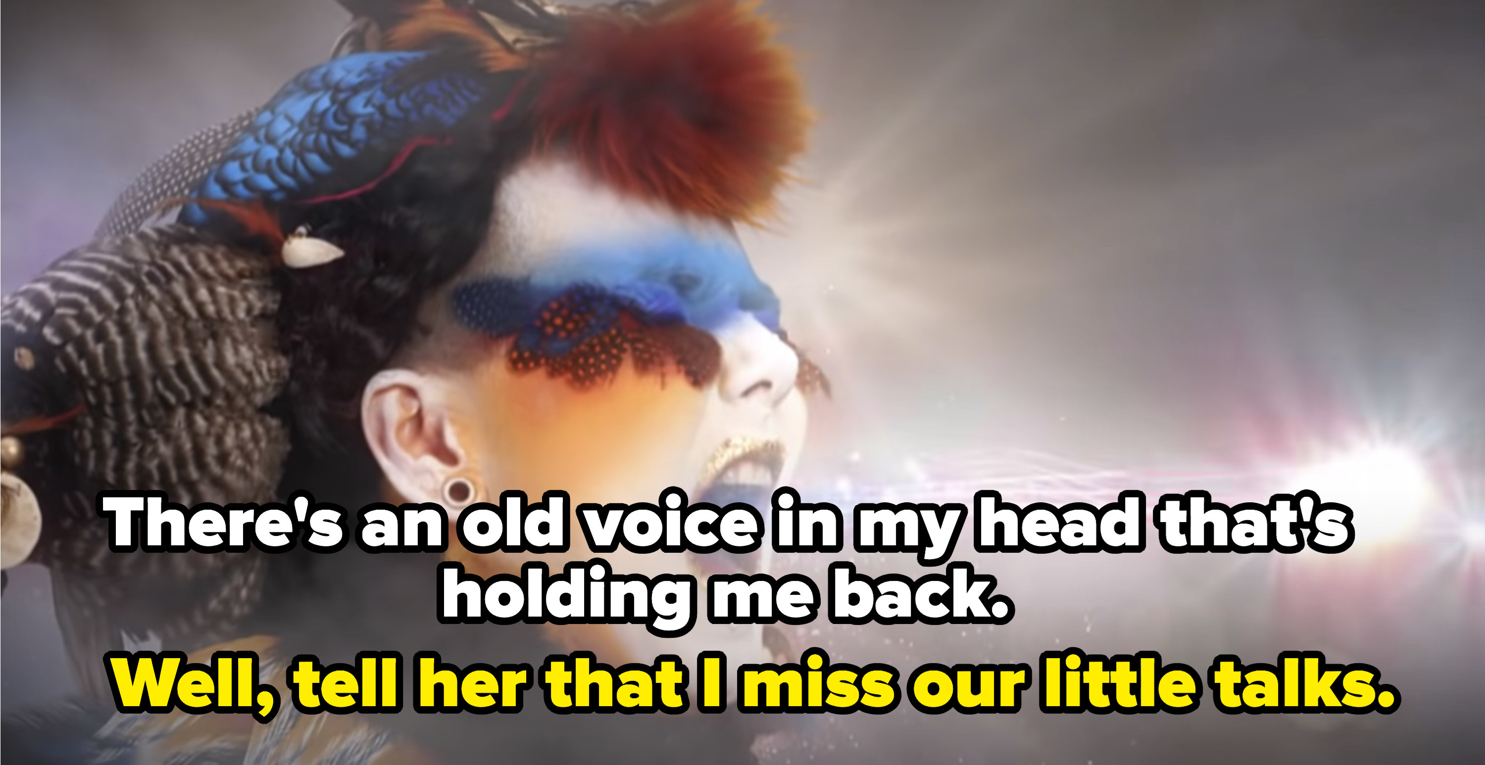 """The """"Little Talks"""" music video with the caption, """"There's an old voice in my head that's holding me back. Well, tell her that I miss our little talks"""""""