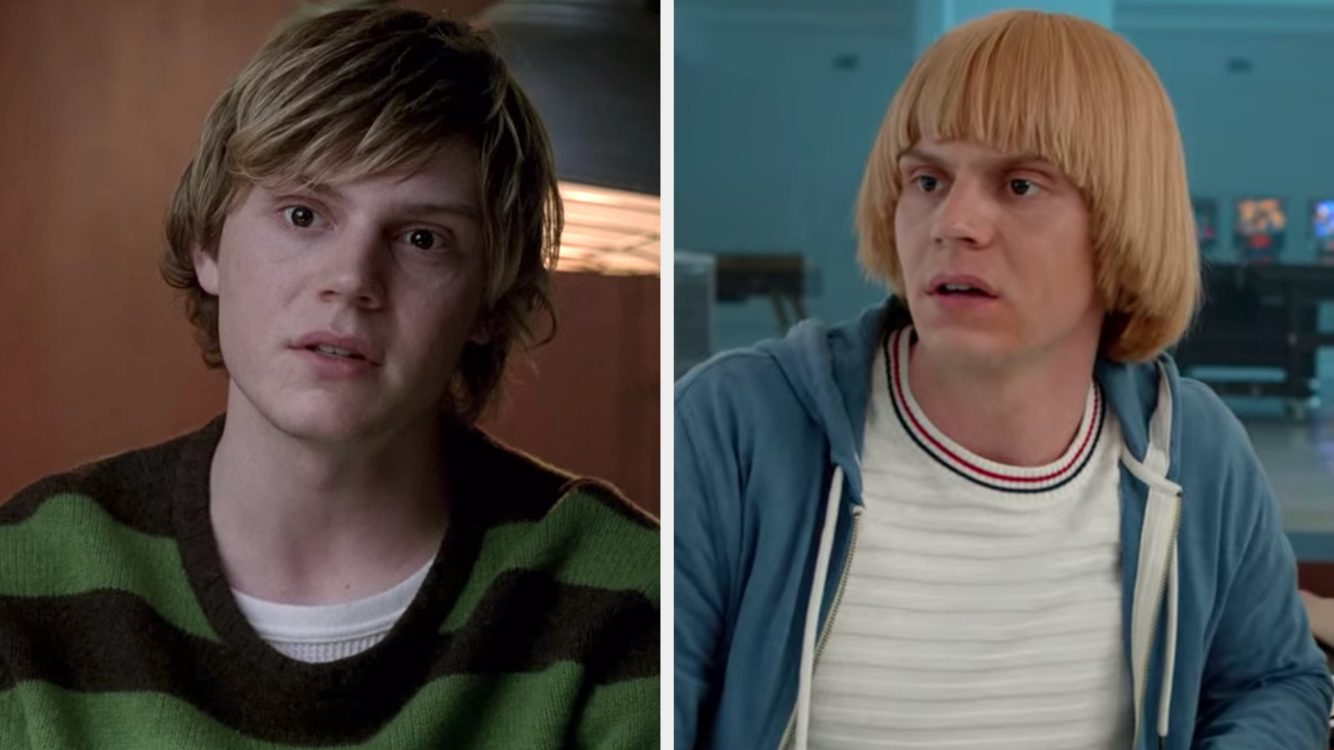 """Evan Peters in the first episode of """"American Horror Story"""" vs. the Season 8, 10th episode """"Apocalypse Then"""""""
