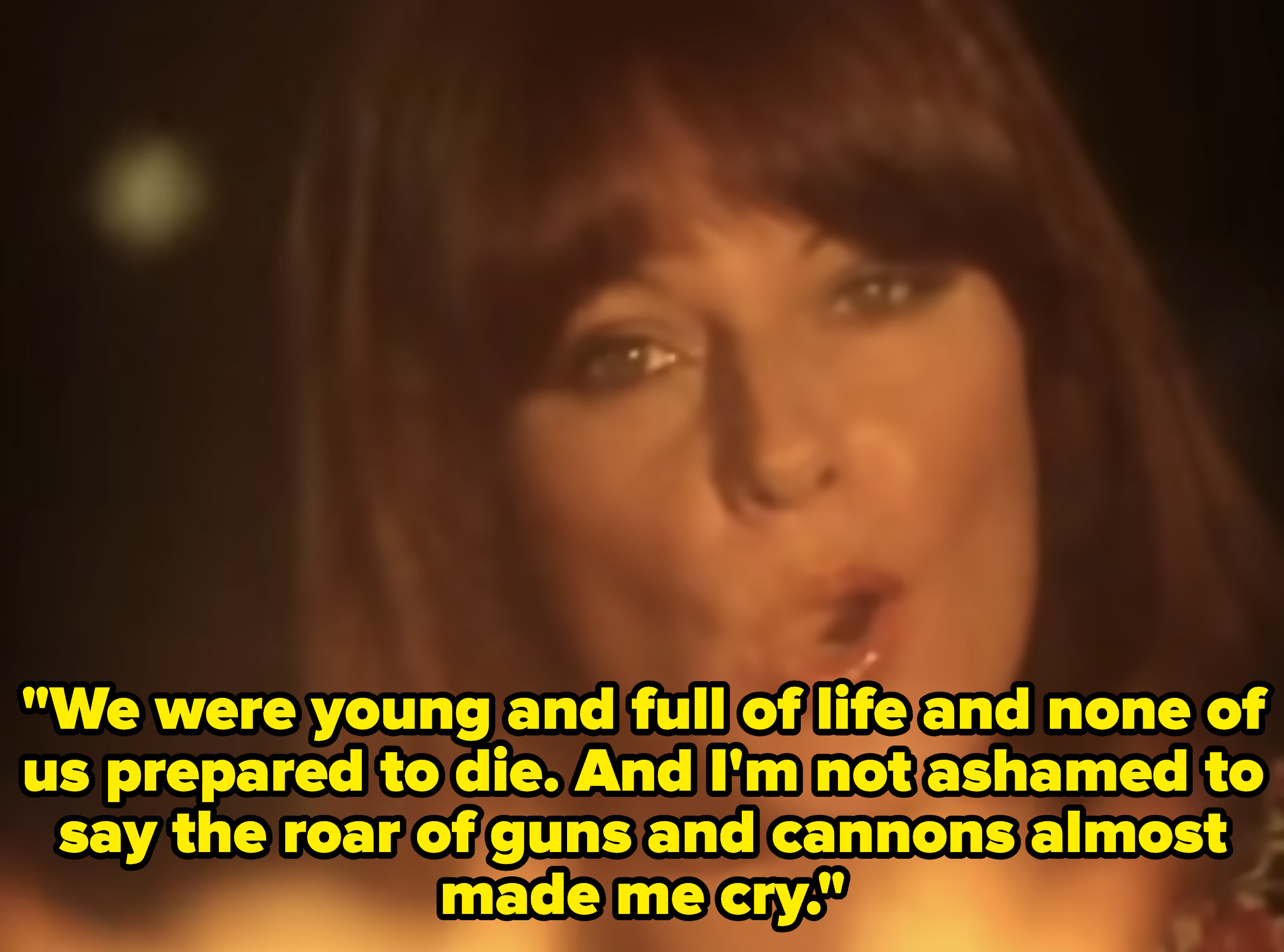 """ABBA singing """"Fernando"""" with the lyrics,""""We were young and full of life and none of us prepared to die. And I'm not ashamed to say the roar of guns and cannons almost made me cry"""""""
