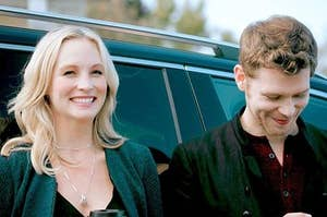 Caroline Forbes (Candice King) and Klaus Mikaelson (Joseph Morgan)