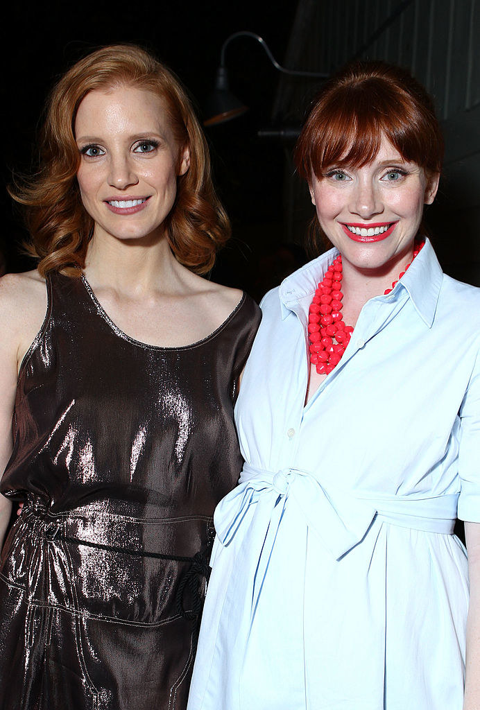 Jessica Chastain (L) and Bryce Dallas Howard attend kate spade new york and Bryce Dallas Howard's Celebration of Women In Film