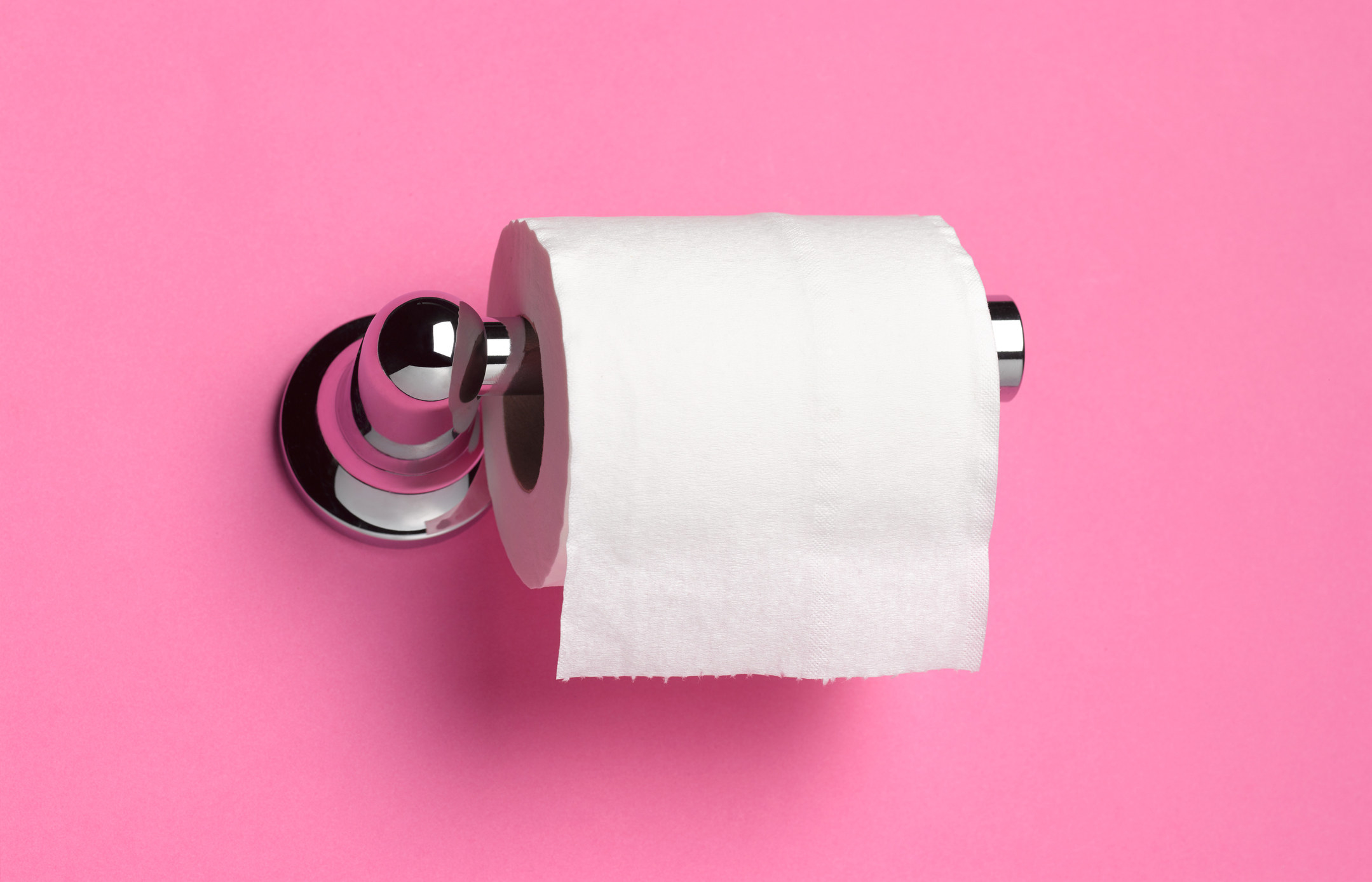 A roll of toilet paper over-side out
