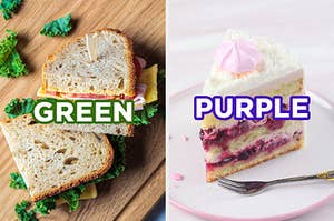 """On the left, a ham and cheese sandwich with lettuce and tomato cut in half labeled """"green,"""" and on the right, a vanilla cake with vanilla frosting and a berry filling labeled """"purple"""""""