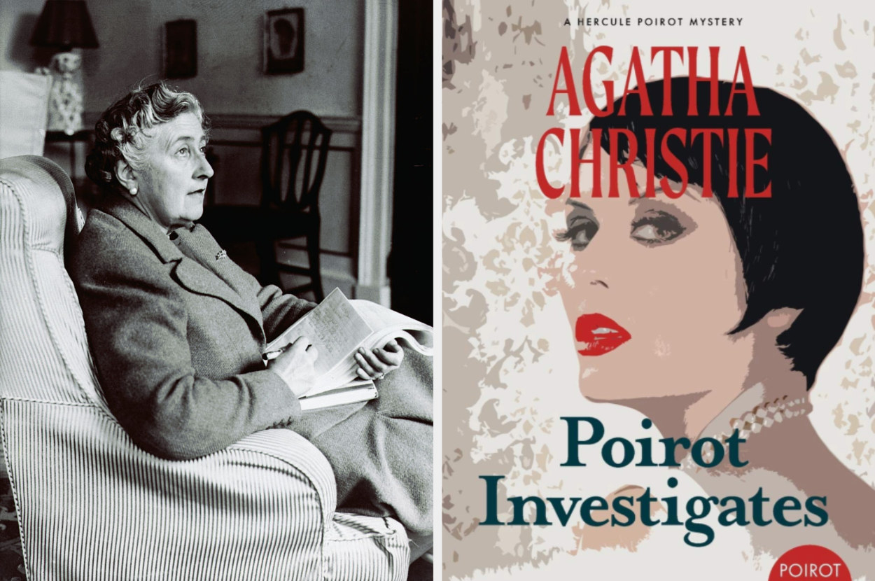 Agatha Christie alongside a book of hers entitled Poirot Investigates