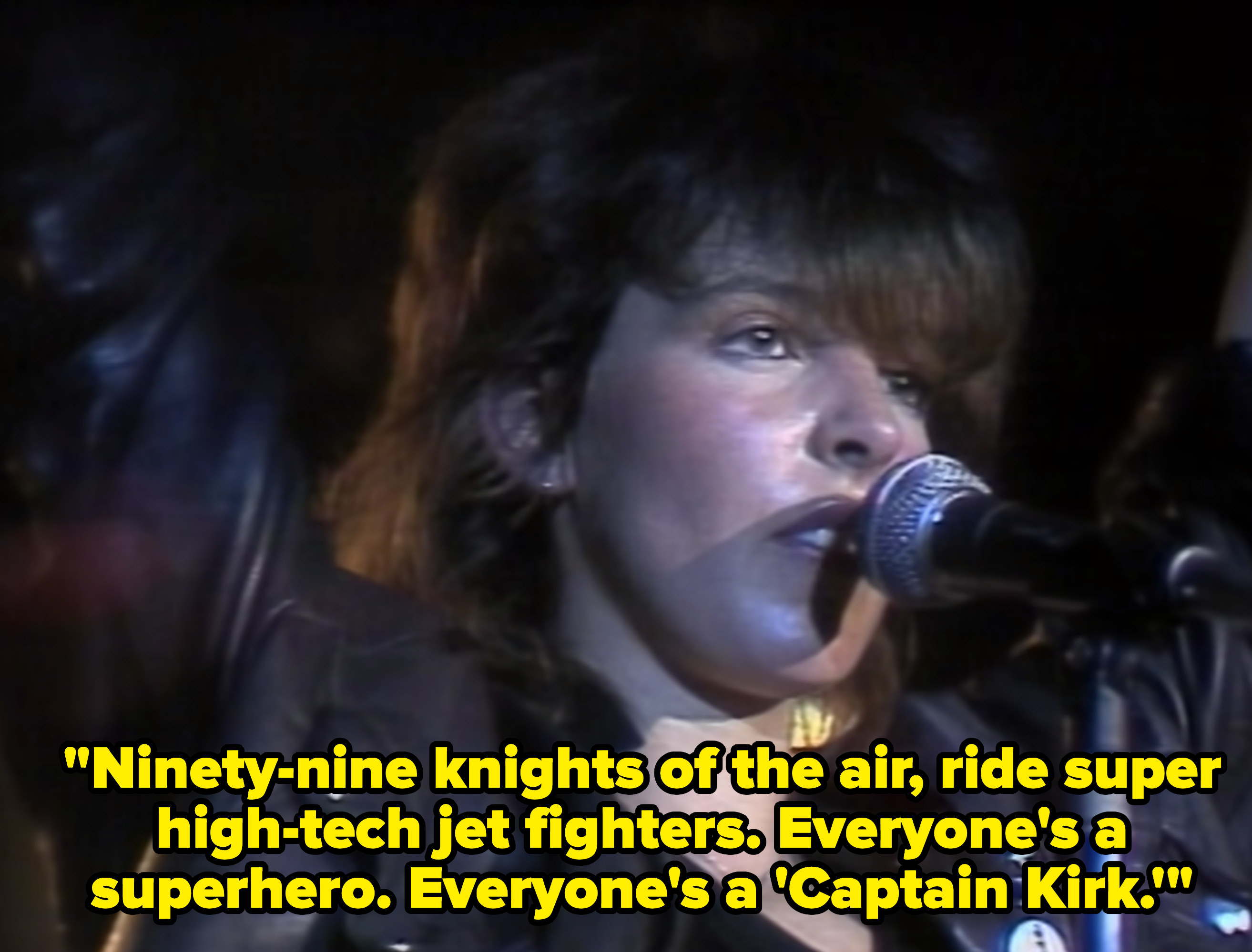 """""""99 Red Balloons"""" music video with caption, """"Ninety-nine knights of the air, ride super high-tech jet fighters. Everyone's a superhero. Everyone's a 'Captain Kirk'"""""""