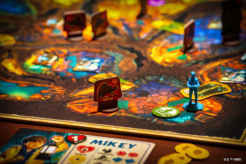 Overview of the game board which has lots of caverns and pieces
